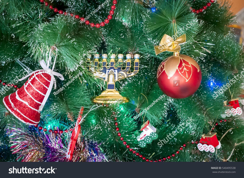 Jewish Menorah Beside New Year Toys Stock Photo 540495538 - Shutterstock
