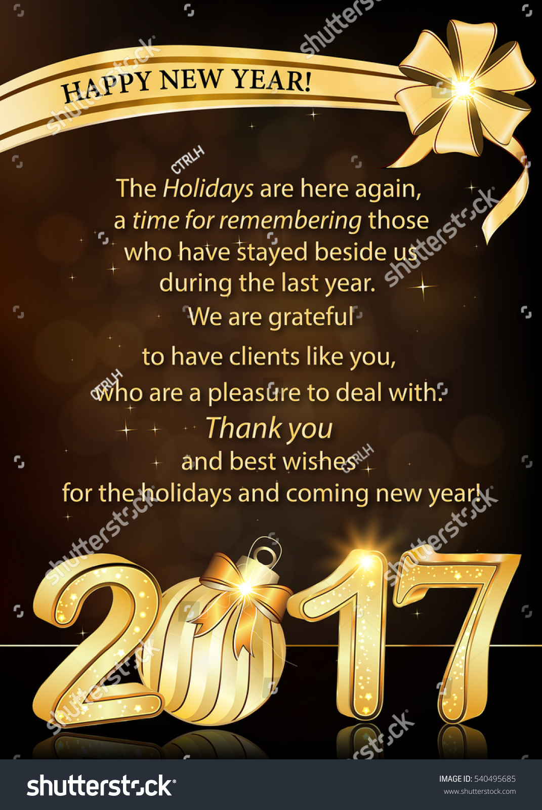 Thank you corporate greeting card new stock illustration 540495685 thank you corporate greeting card for new year 2017 text belongs to me print kristyandbryce Images