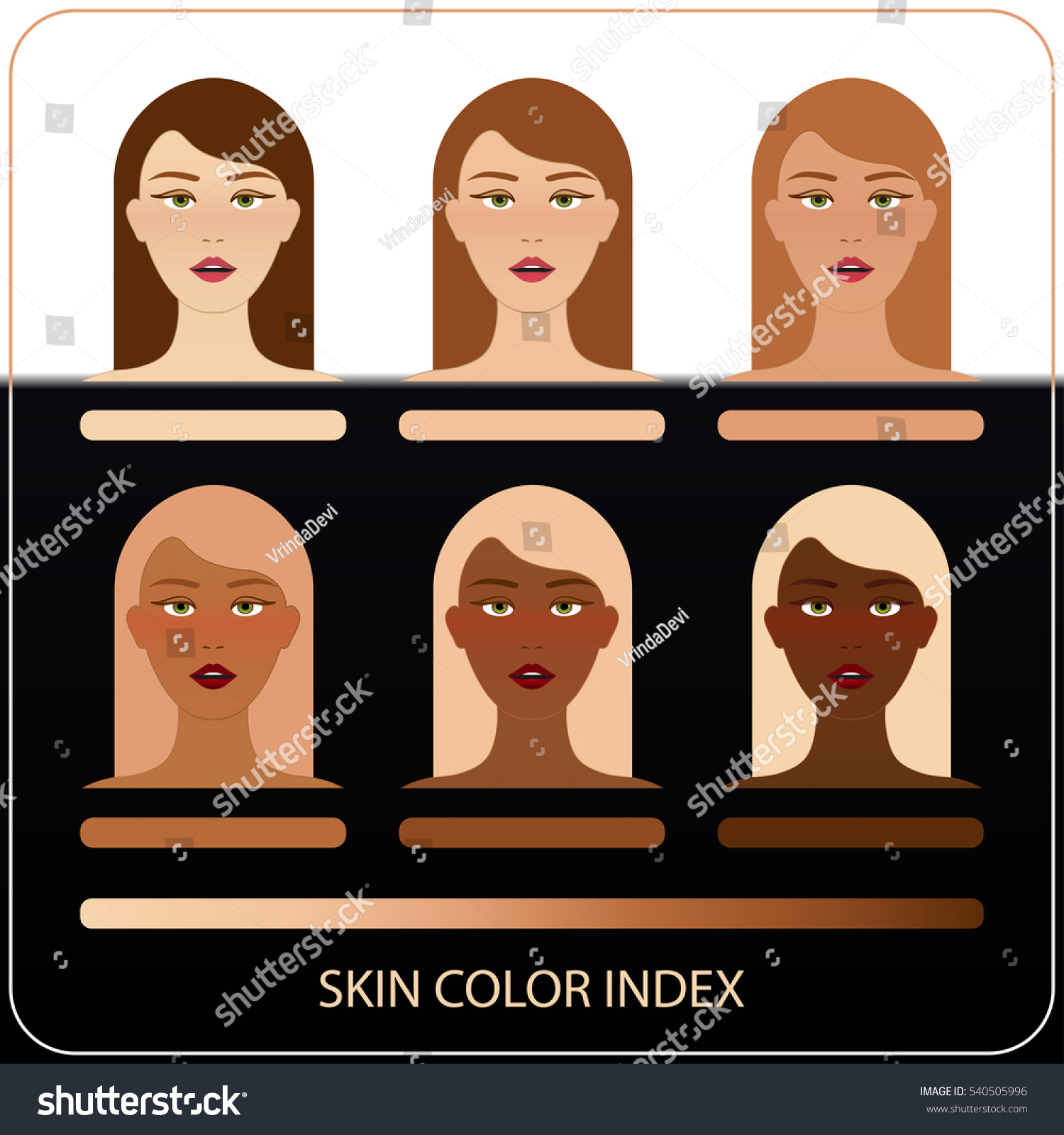 Woman face skin color index infographic stock vector 540505996 woman face skin color index infographic in vector woman face with chart of level color nvjuhfo Choice Image