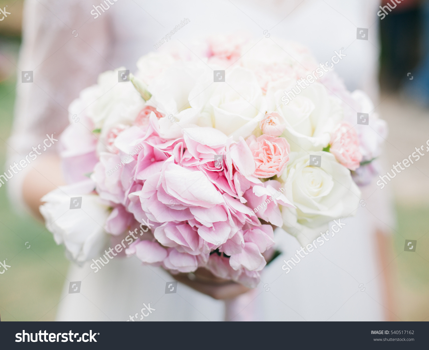 Wedding Bouquet With White Roses And Hydrangea