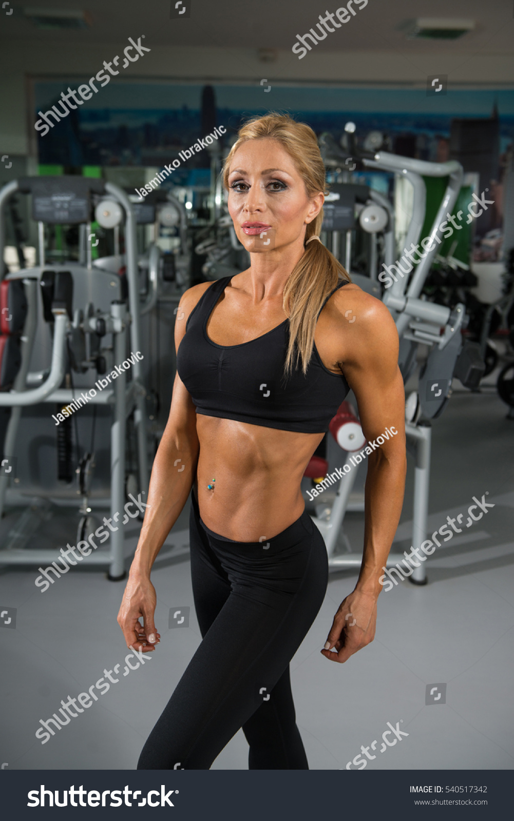 Portrait Mature Physically Fit Woman Showing Stock Photo ...