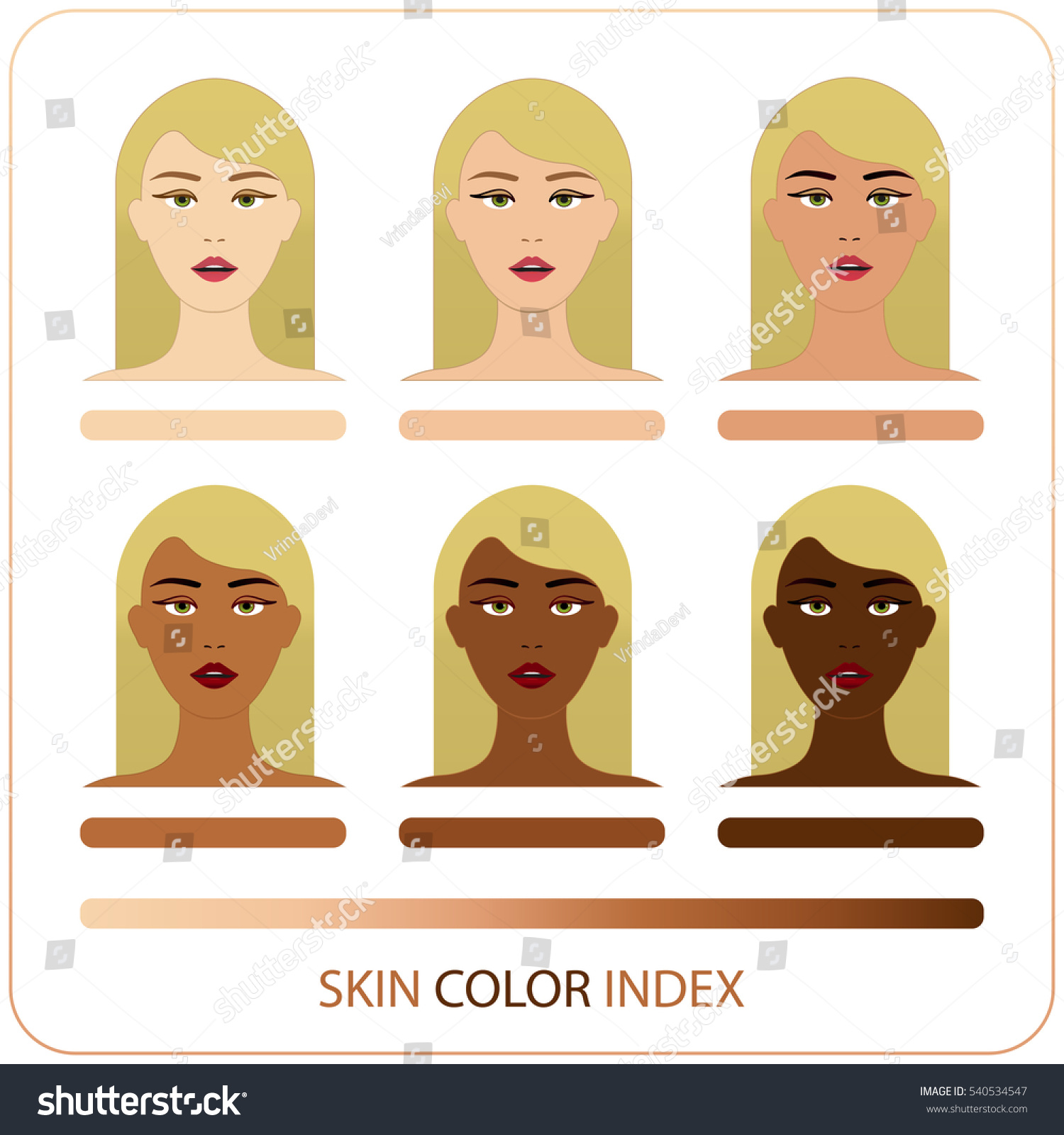 Skin color index infographic vector woman stock vector 540534547 skin color index infographic in vector woman face with chart of level of color skin nvjuhfo Choice Image