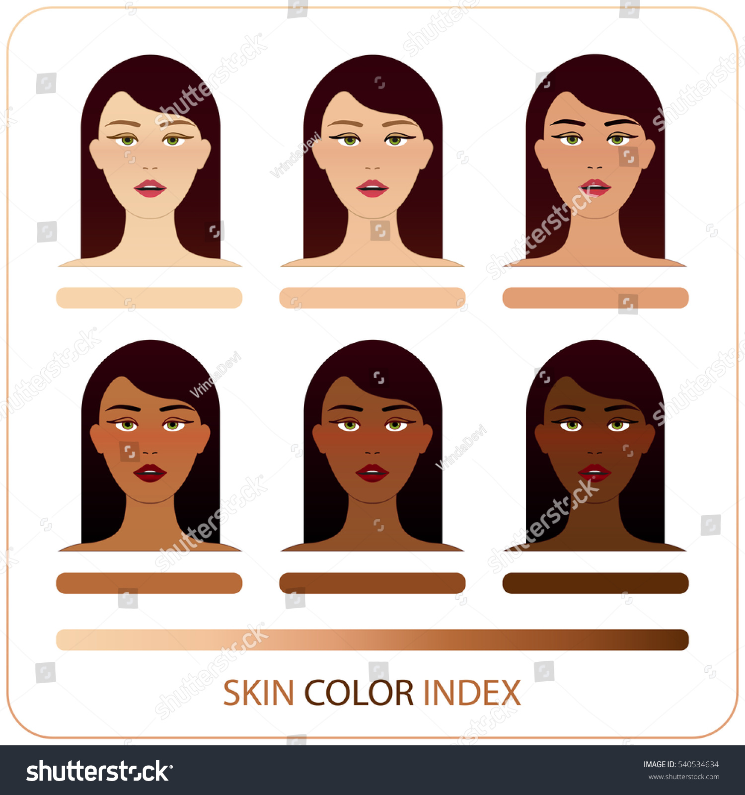 Skin color index infographic vector brunette stock vector skin color index infographic in vector brunette woman face with different color skin chart of nvjuhfo Choice Image