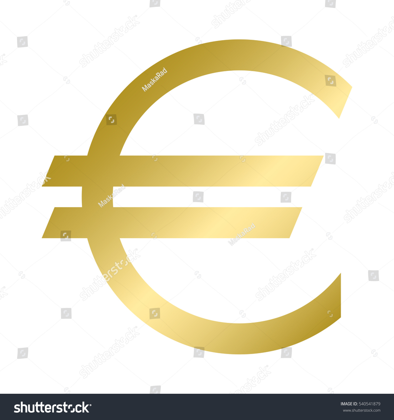 Euro Currency Symbol Gold Color Graphic Stock Illustration 540541879