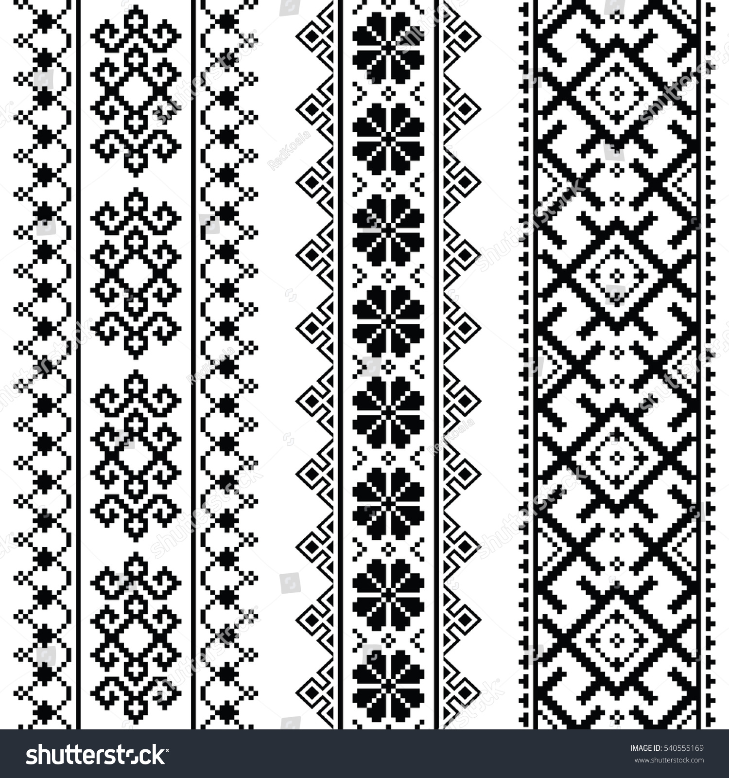 Ukrainian Belarusian Black Embroidery Seamless Pattern Stock Vector