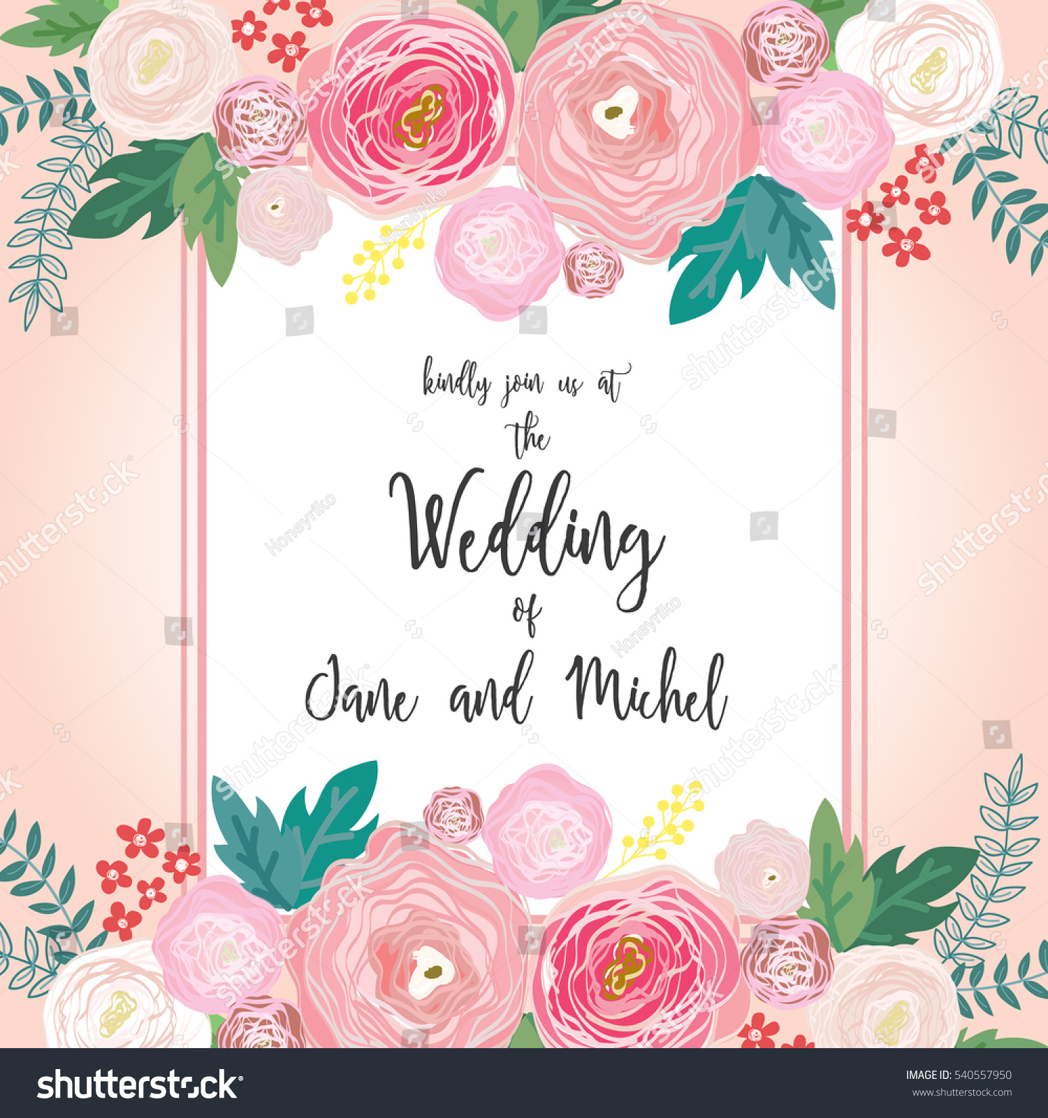Flower Wedding Invitation Card Template Pastel Stock Vector (Royalty ...