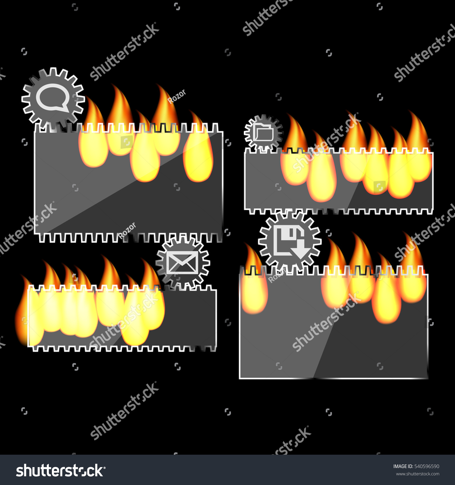 glass fire black gear for business infographics template for data  visualization, diagram, , presentation