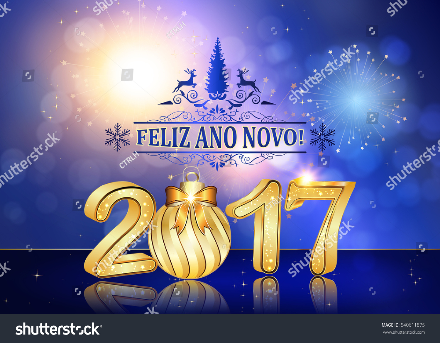 happy new year 2017 spanish language background greeting card with brightly colorful fireworks