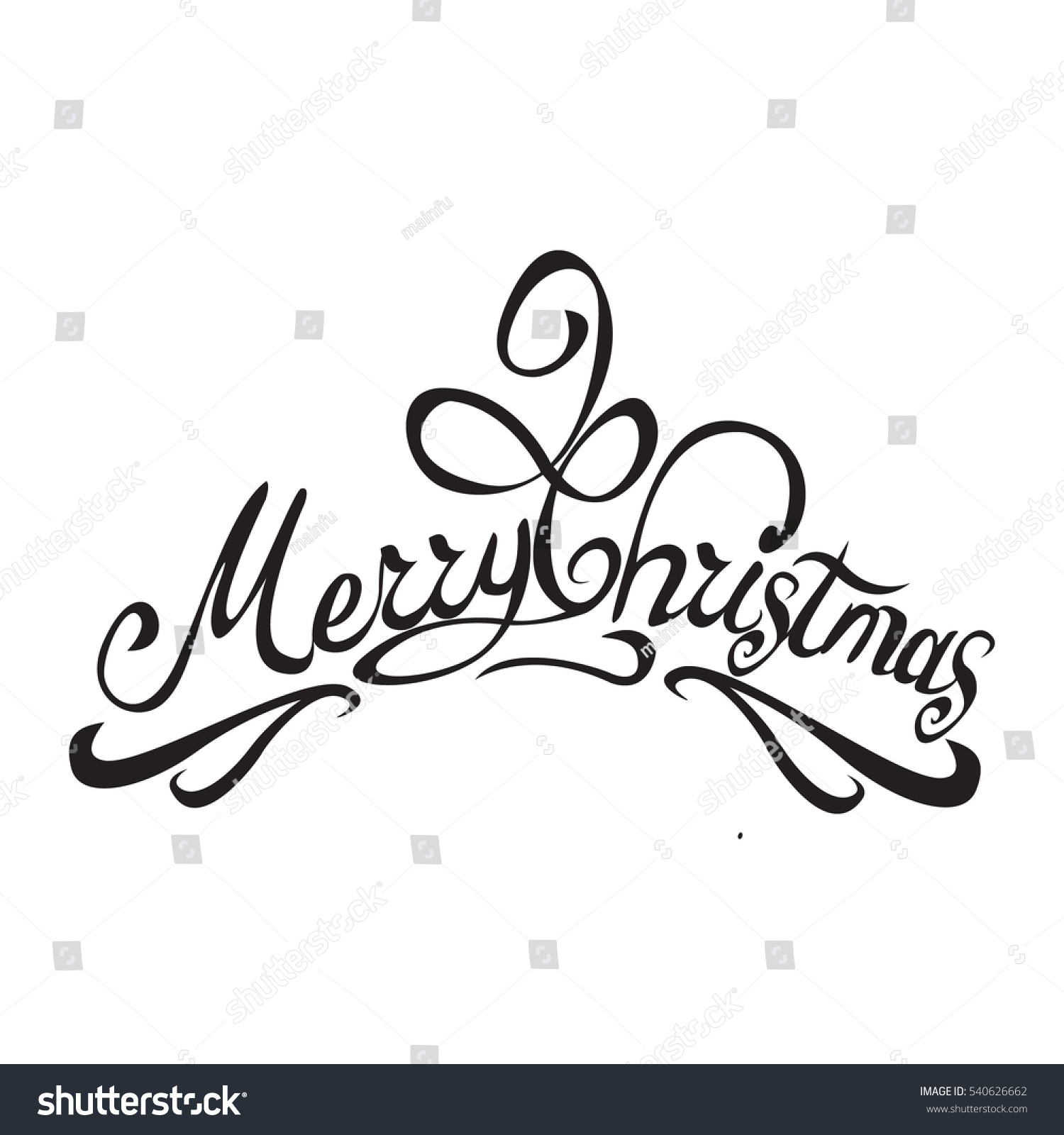 Merry Christmas Vector Text Calligraphic Lettering Stock