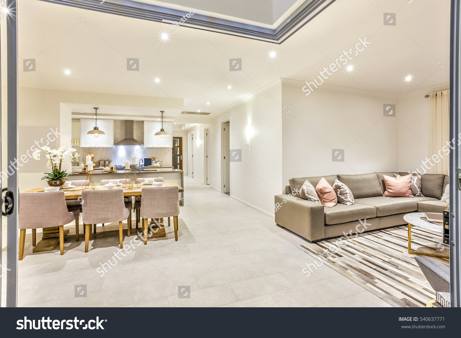 Modern House Door Entrance Living Room Stock Photo (Royalty Free ...
