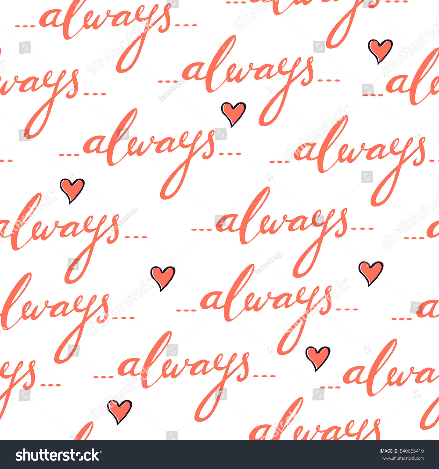Romantic vector seamless background greeting card wallpaper vector art - Romantic Seamless Vector Pattern With Hand Written Word Always And Hearts Isolated Background