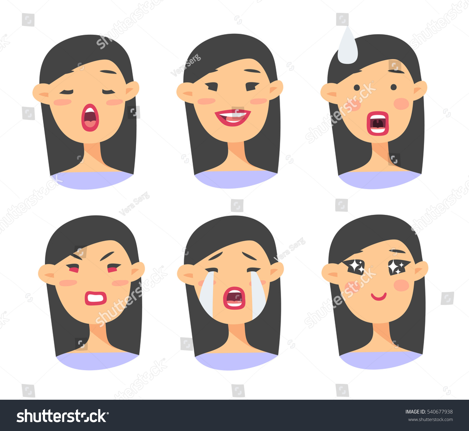 set asian emoji character cartoon style stock vector