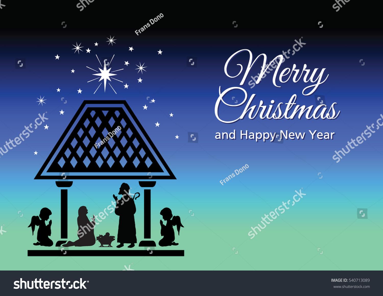 Christmas Card Illustrating Birth Jesus Stock Vector Royalty Free
