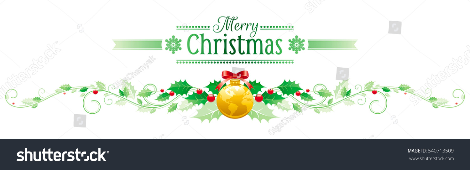 merry christmas happy new year horizontal border banner holly berry world map ball