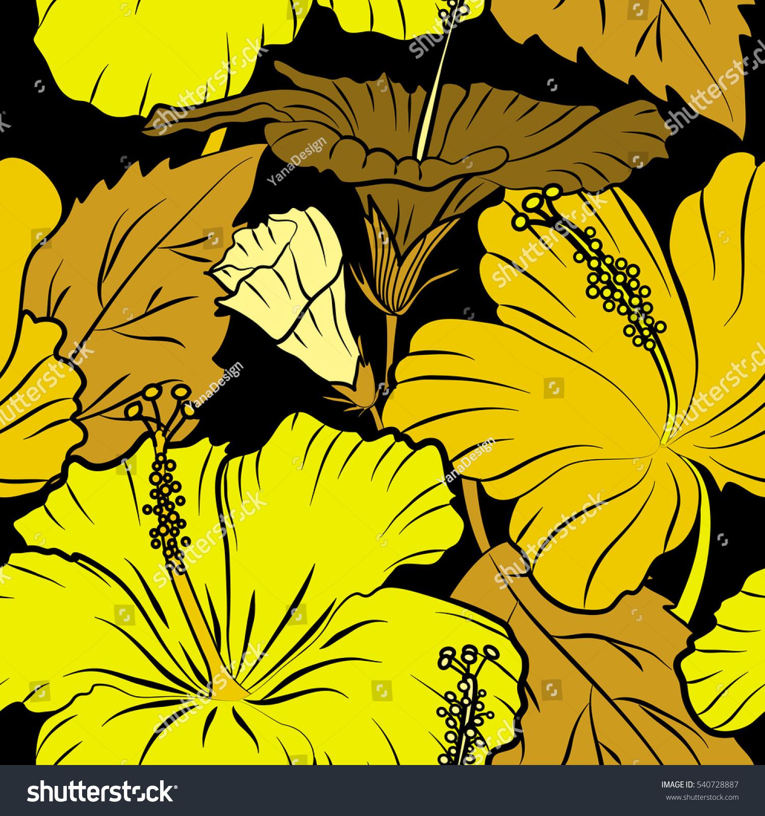 Hand Drawn Painting Hibiscus Flowers Yellow Stock Illustration