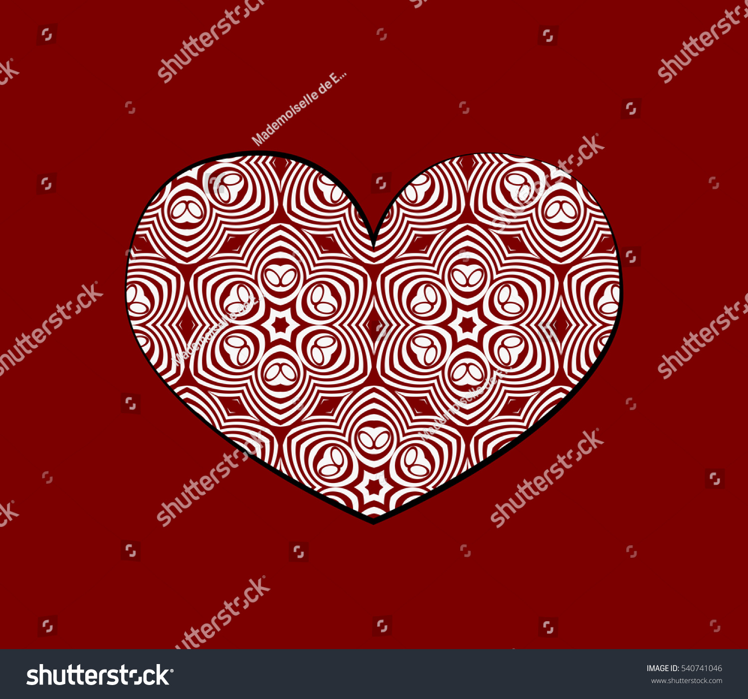 romantic patterned heart. Card for Valentine\'s Day, wedding ...