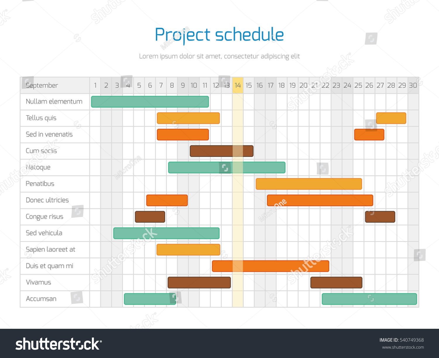 project schedule chart overview planning timeline のベクター画像