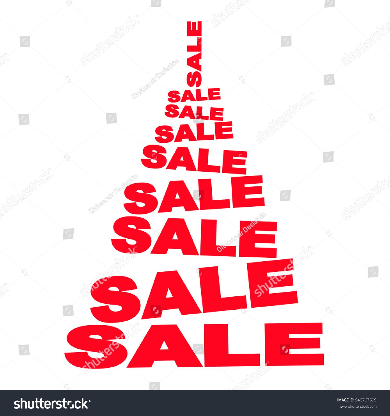 Christmas Sale 2017 Concept Abstract Christmas Stock Vector  - Red Christmas Tree For Sale