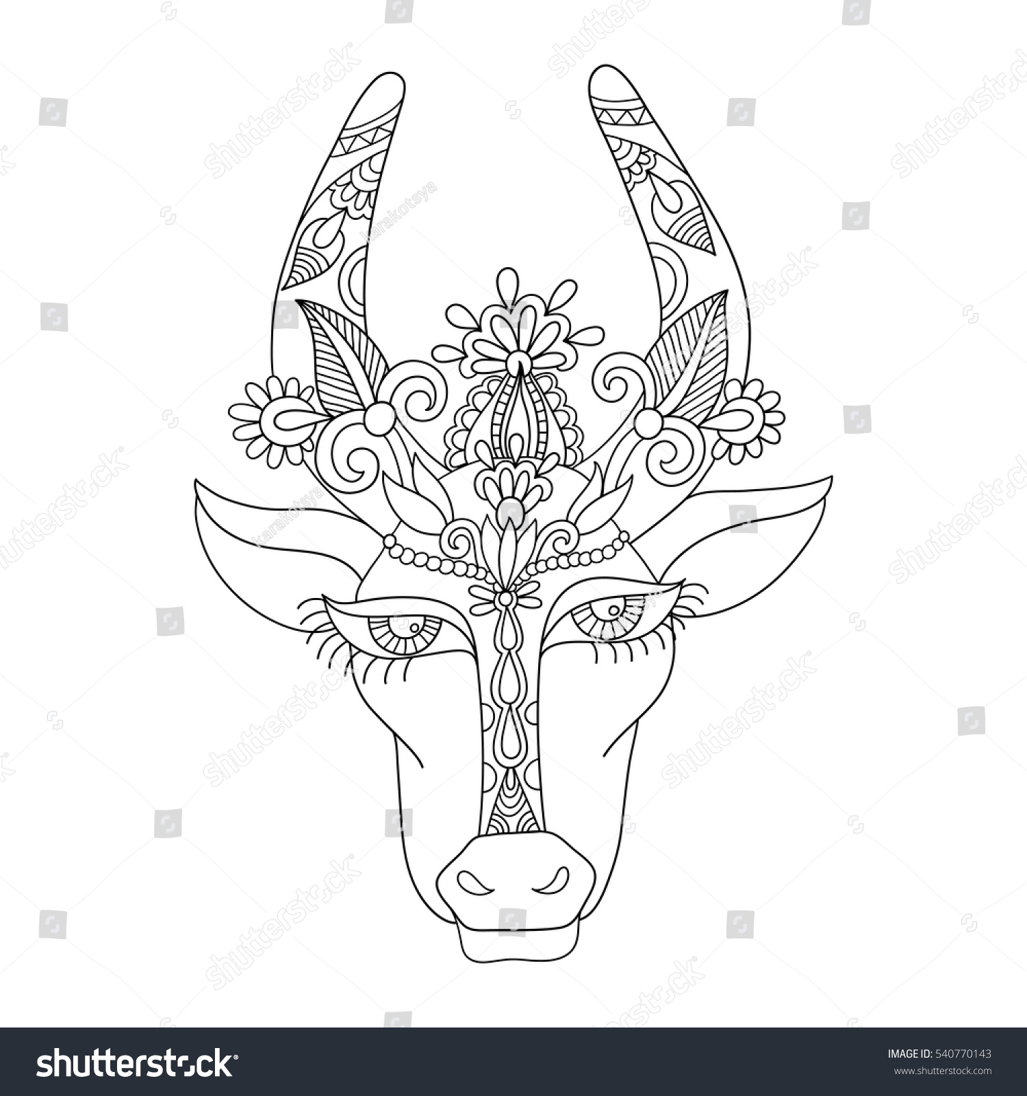 Uncategorized Drawing Of Indian line decorative drawing indian cow head stock vector 540770143 of floral stylized illustration