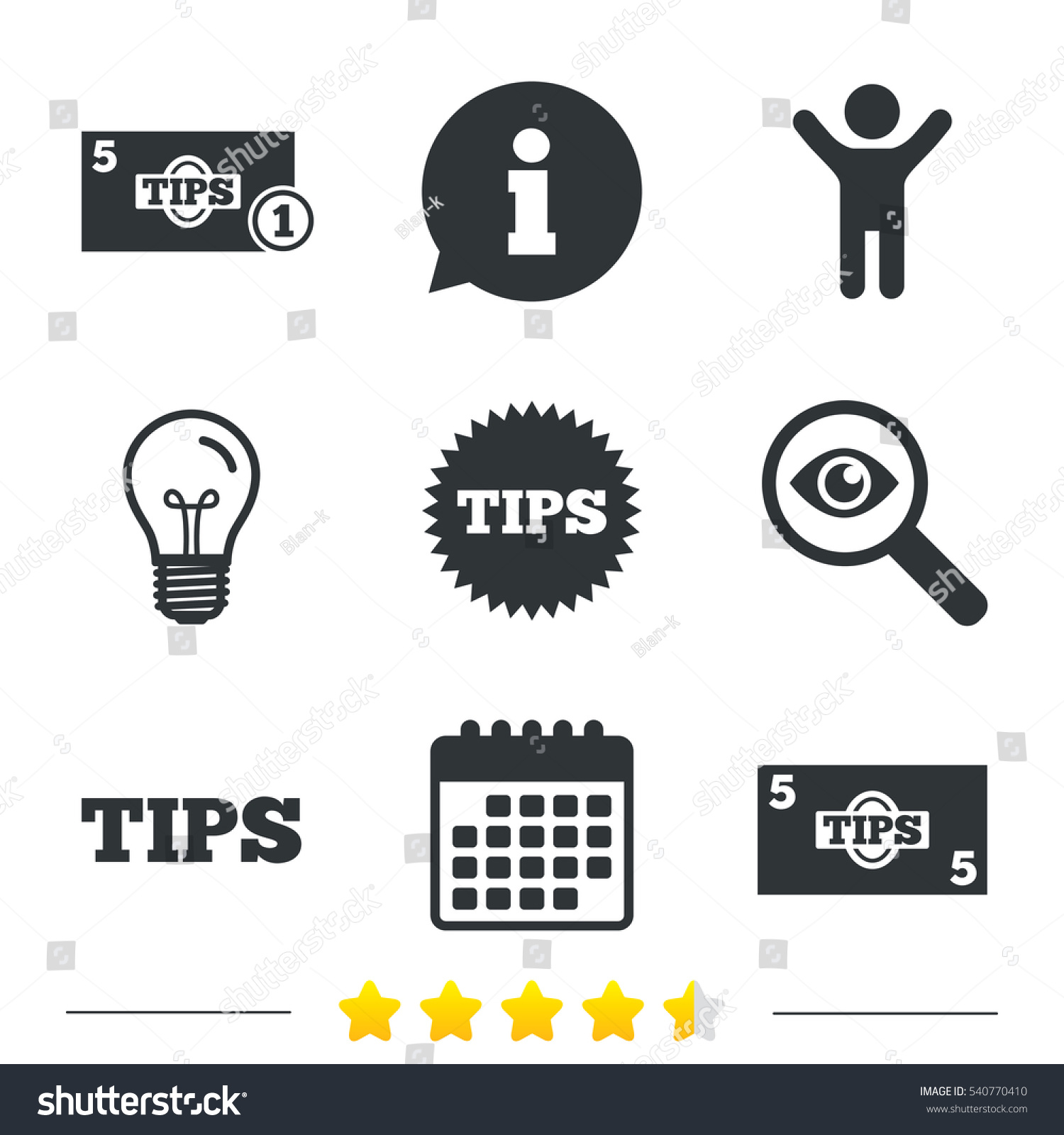 Tips Icons Cash Coin Money Symbol Stock Vector Royalty Free