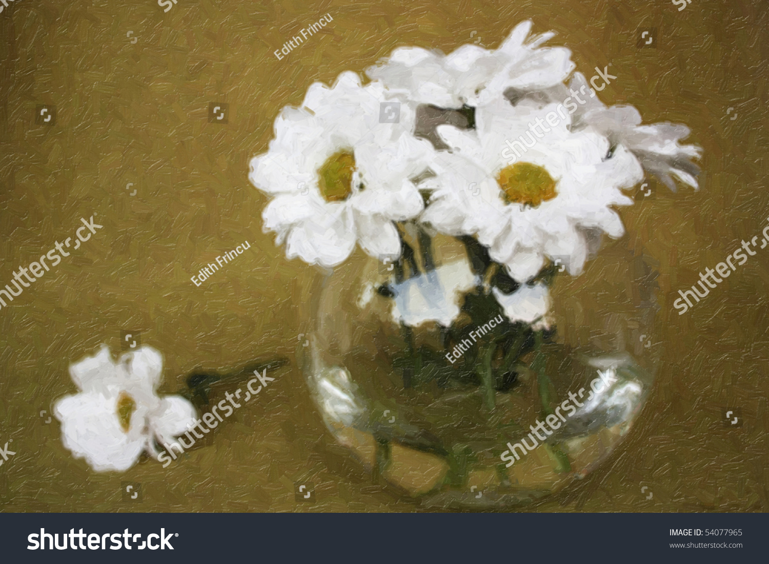 Oil Painting With White Flowers In A Vase Stock Shutterstock