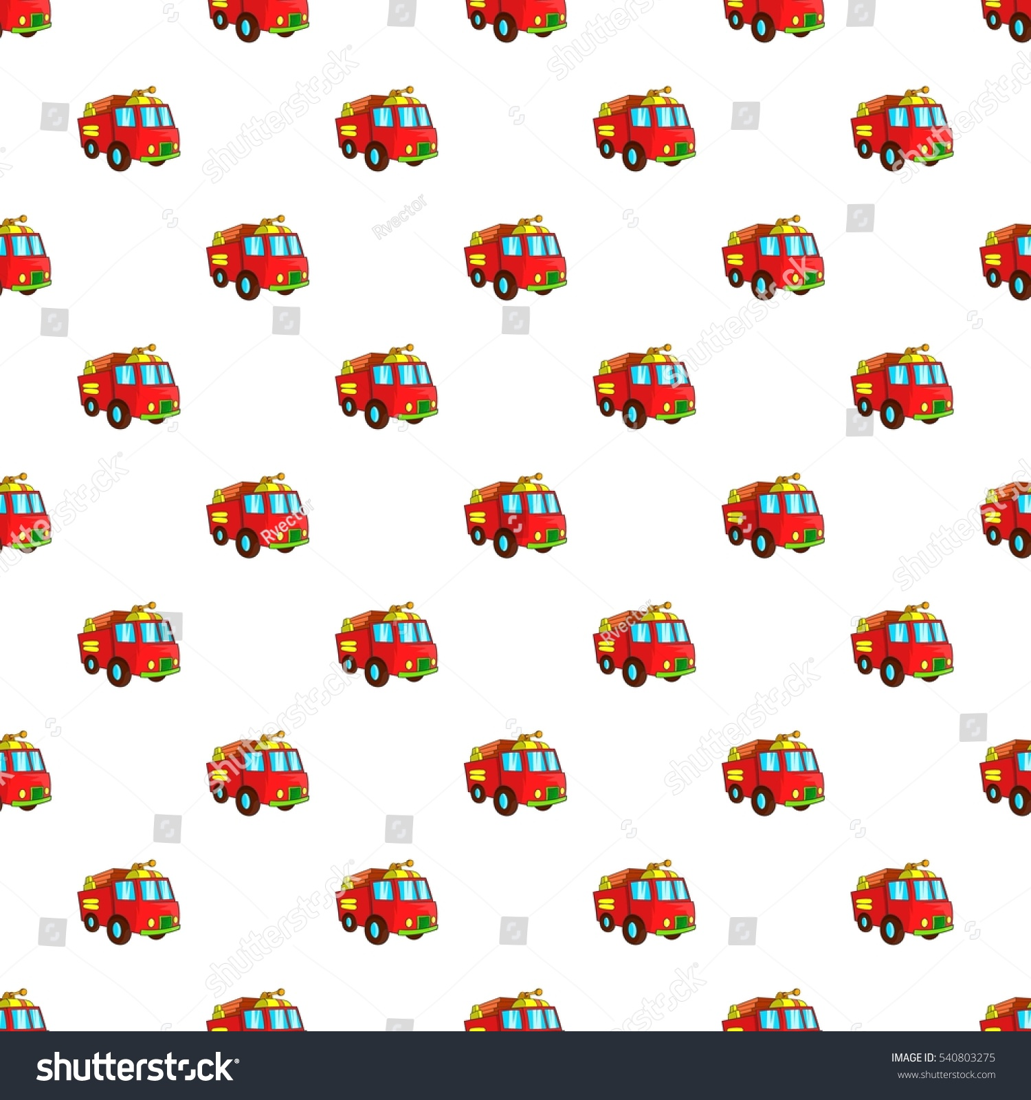 fire truck pattern cartoon illustration fire stock vector royalty