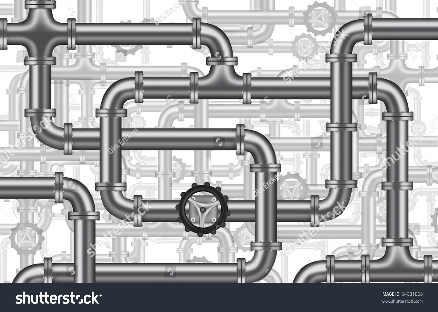 Plumbing Water Piping Pipelines Tubing Valve Stock Illustration 54081868