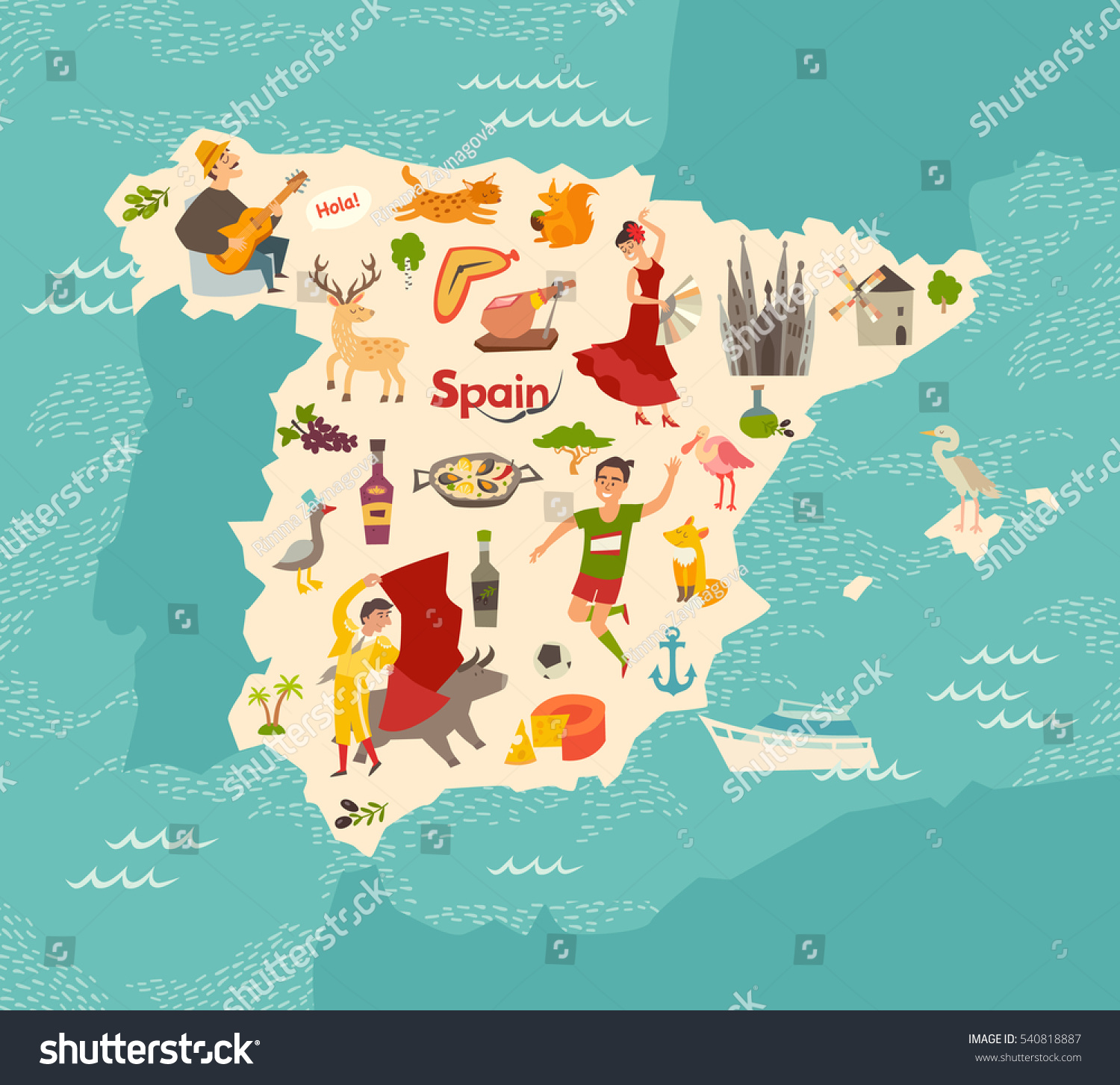 spain map vector illustrated map spain stock vector 540818887