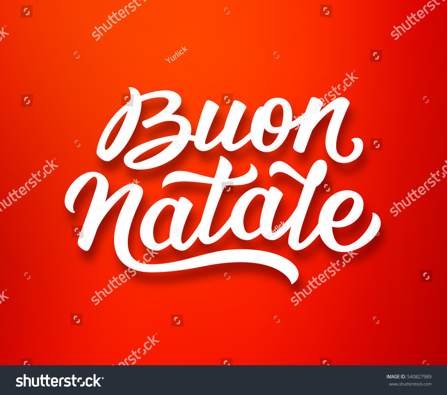 Merry Christmas Season Greetings With Lettering Text In Italian On