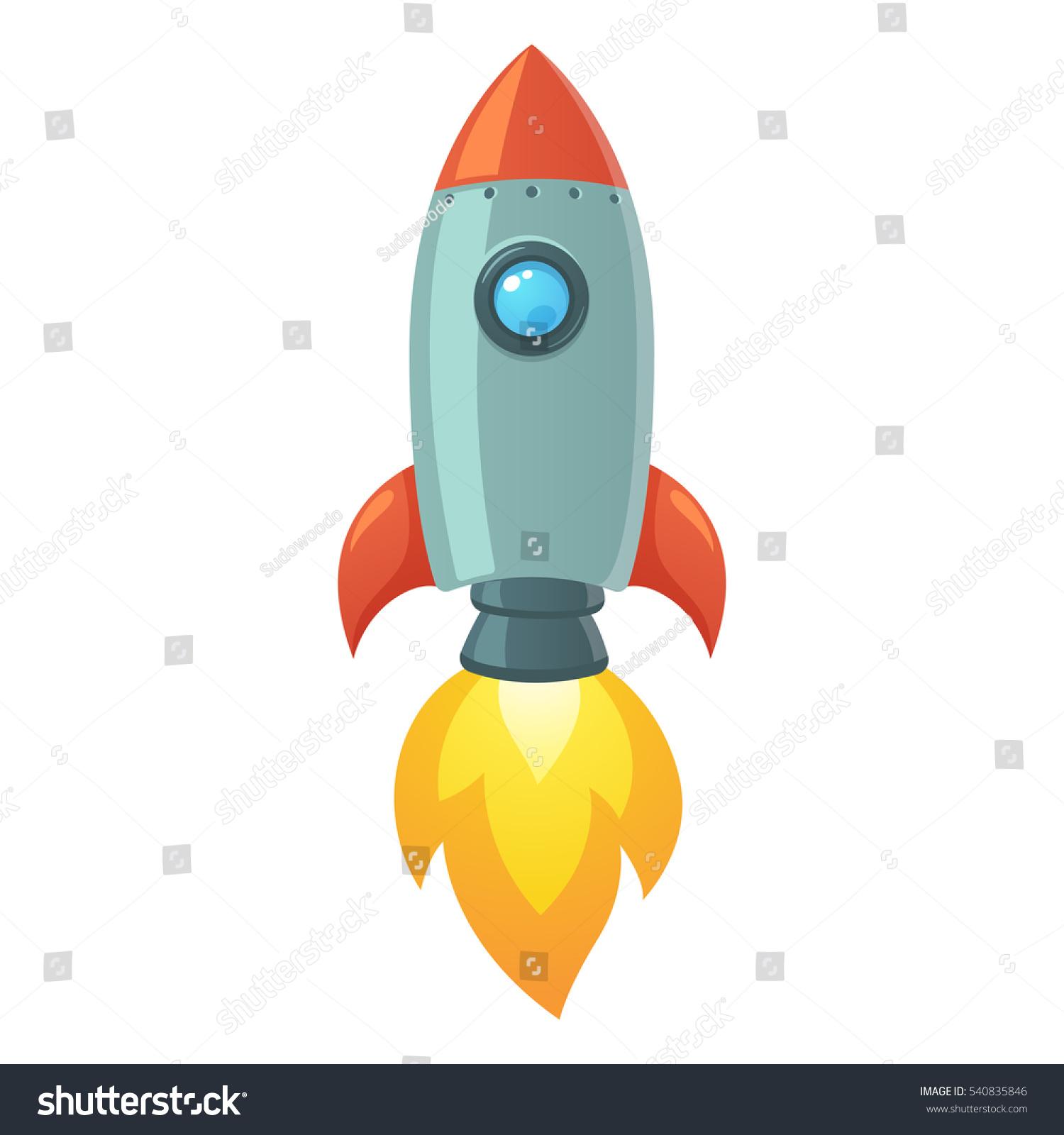 Cartoon Rocket Space Ship Take Off Stock Vector 540835846 ...