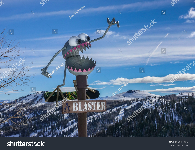 Sign marking the Blaster ski run at the Park City Mountain Resort, near Salt Lake City, Utah.