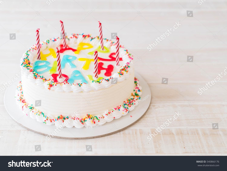 Happy Birthday Cake On Table Stock Photo Royalty Free 540866176