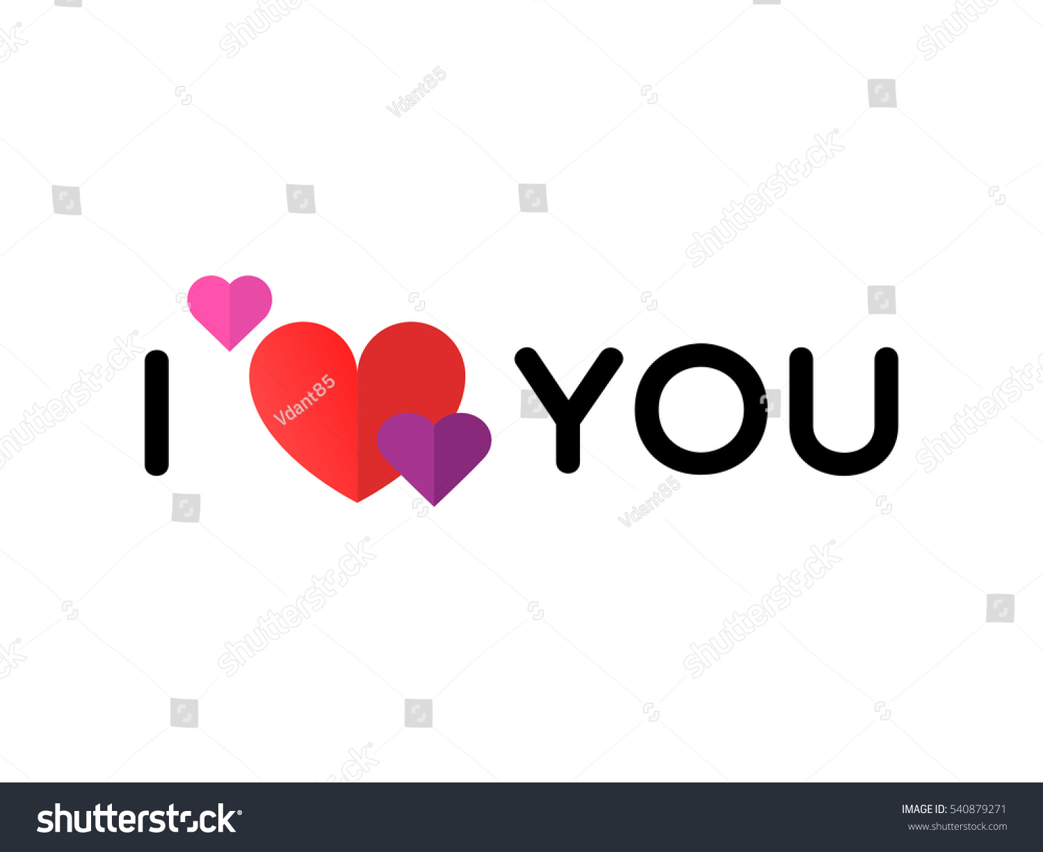Love You Red Heart Symbol On Stock Vector Royalty Free 540879271
