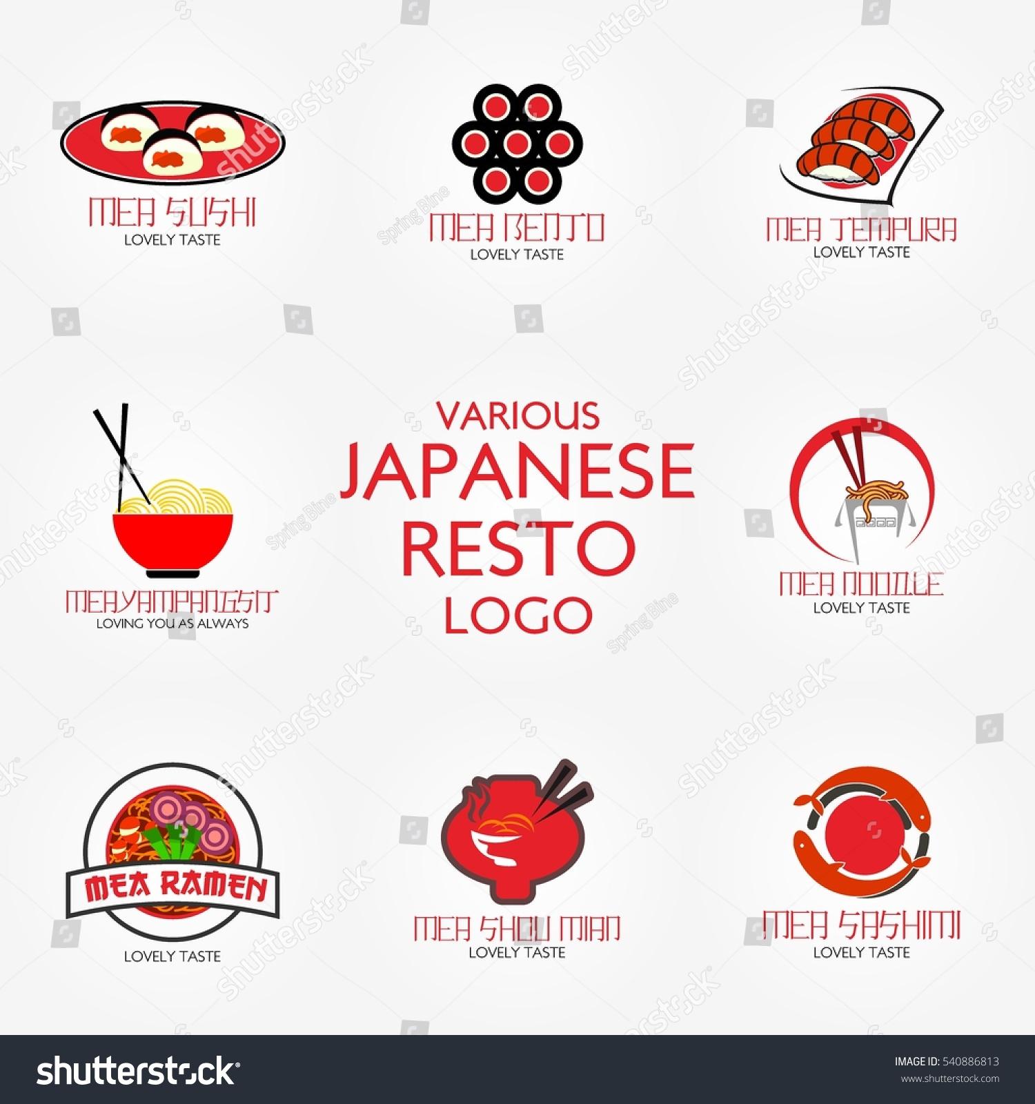 Traditional japanese food restaurant logo design stock