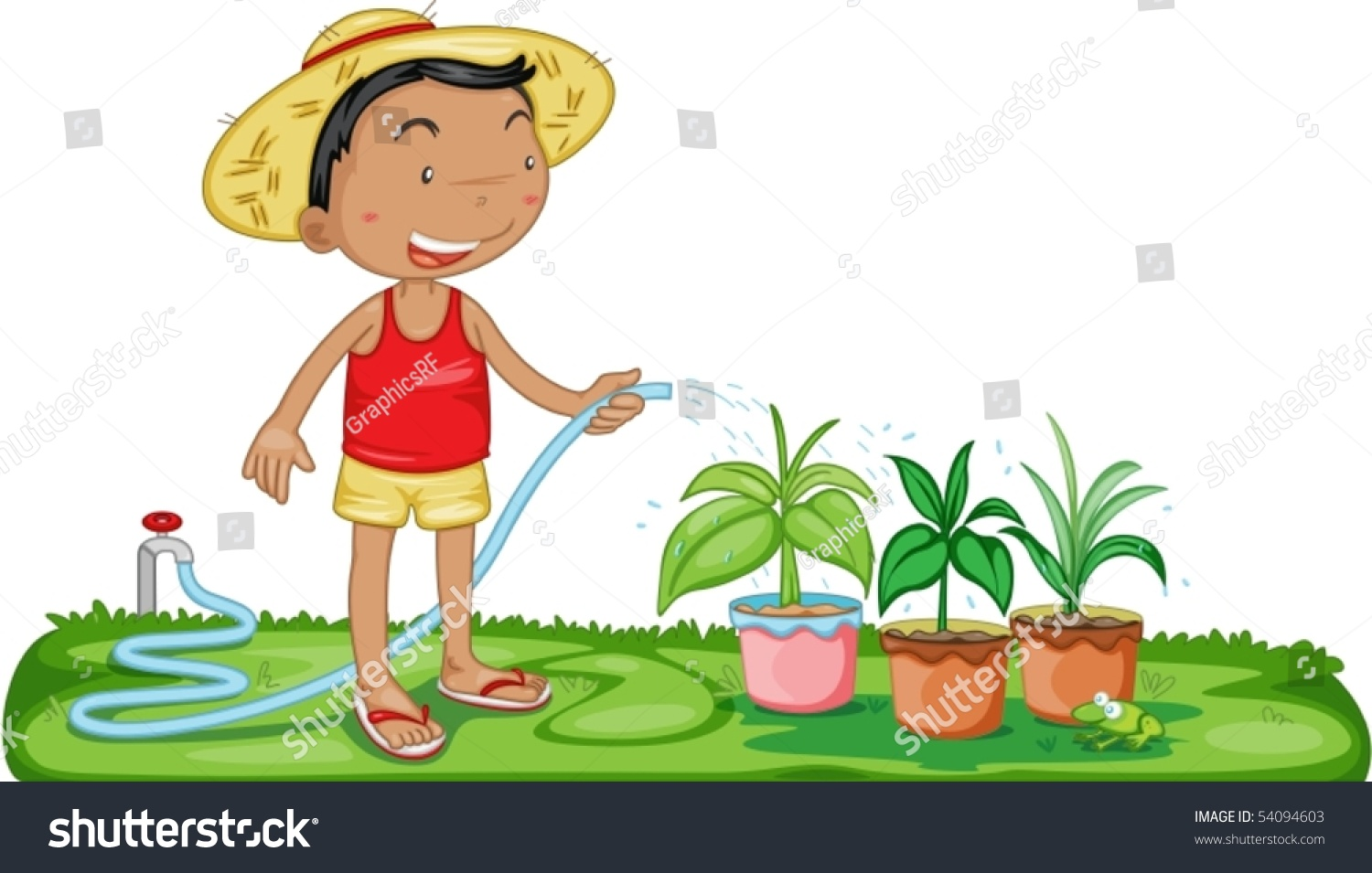 Illustration Of A Boy Watering Plants On White Background ...