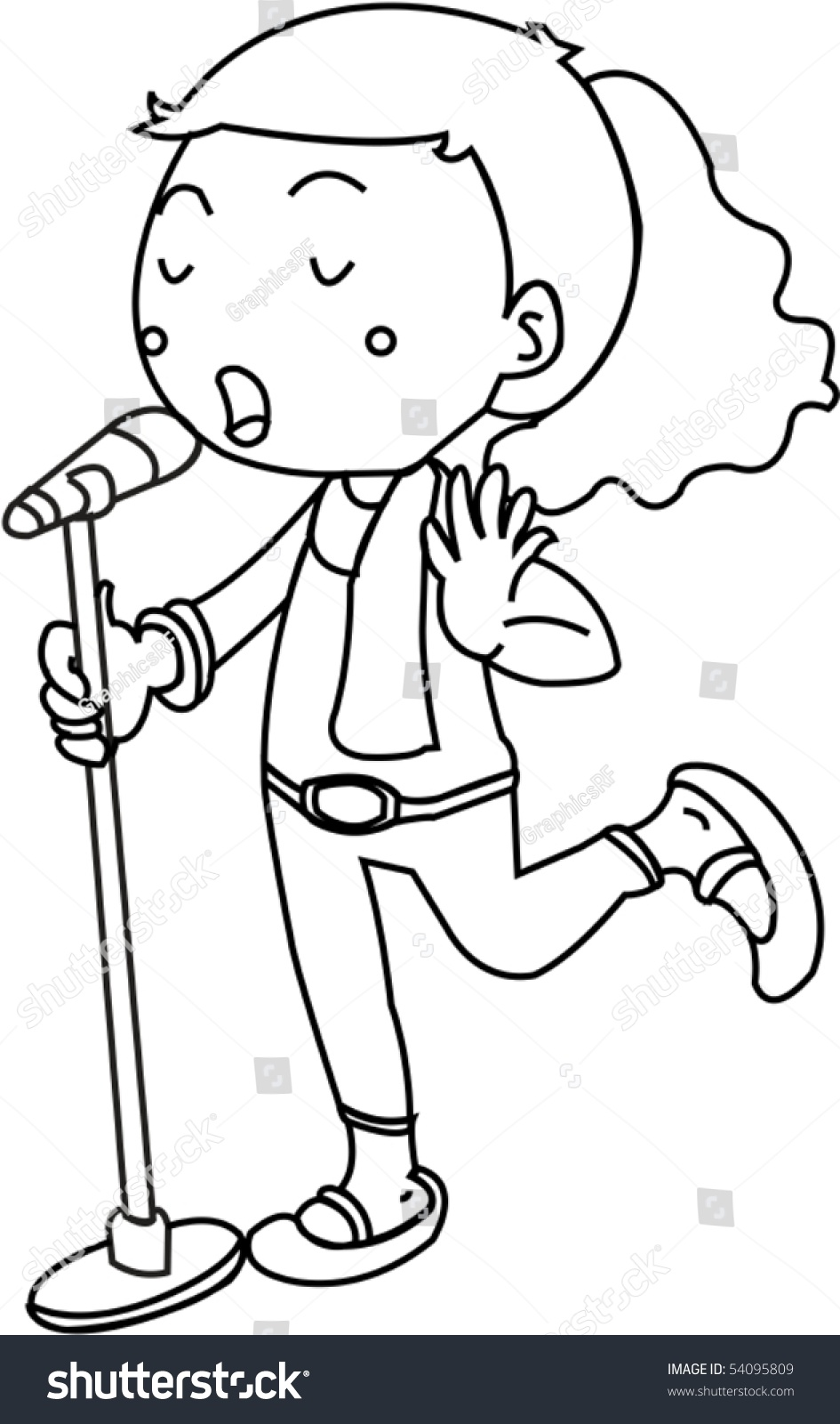 Sketch Girl Singing On Mic On Stock Vector 54095809