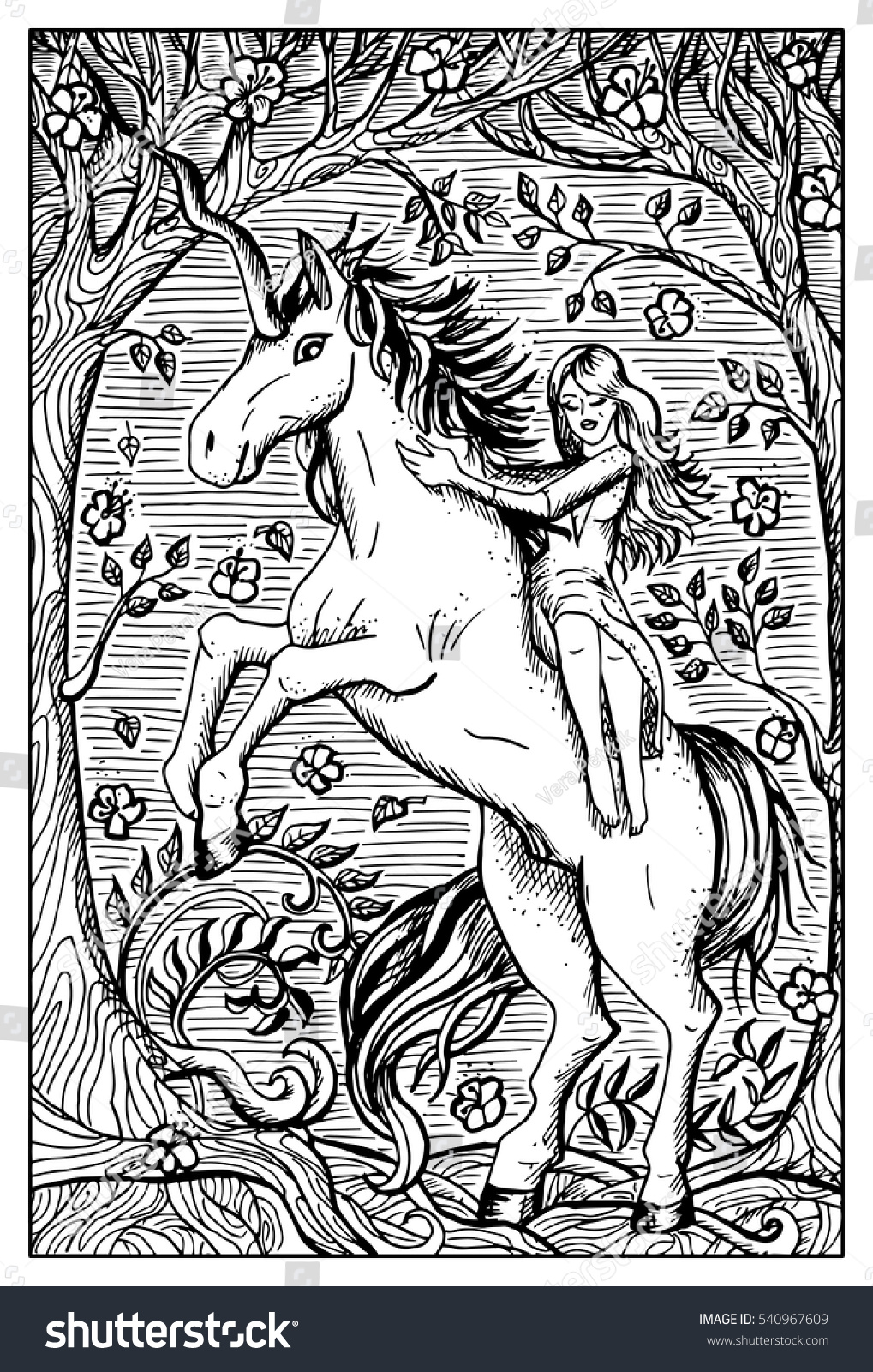 Unicorn And Beautiful Girl In Forest Fantasy Magic Creatures Collection Hand Drawn Vector Illustration