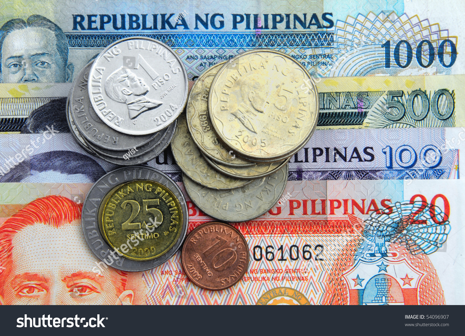 Philippines Currency Banknotes Coins Stock Photo 54096907