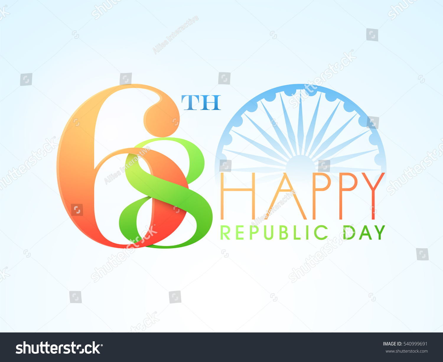 Colors website ashoka - National Flag Colours Text 68th With Ashoka Wheel For Indian Republic Day Celebration