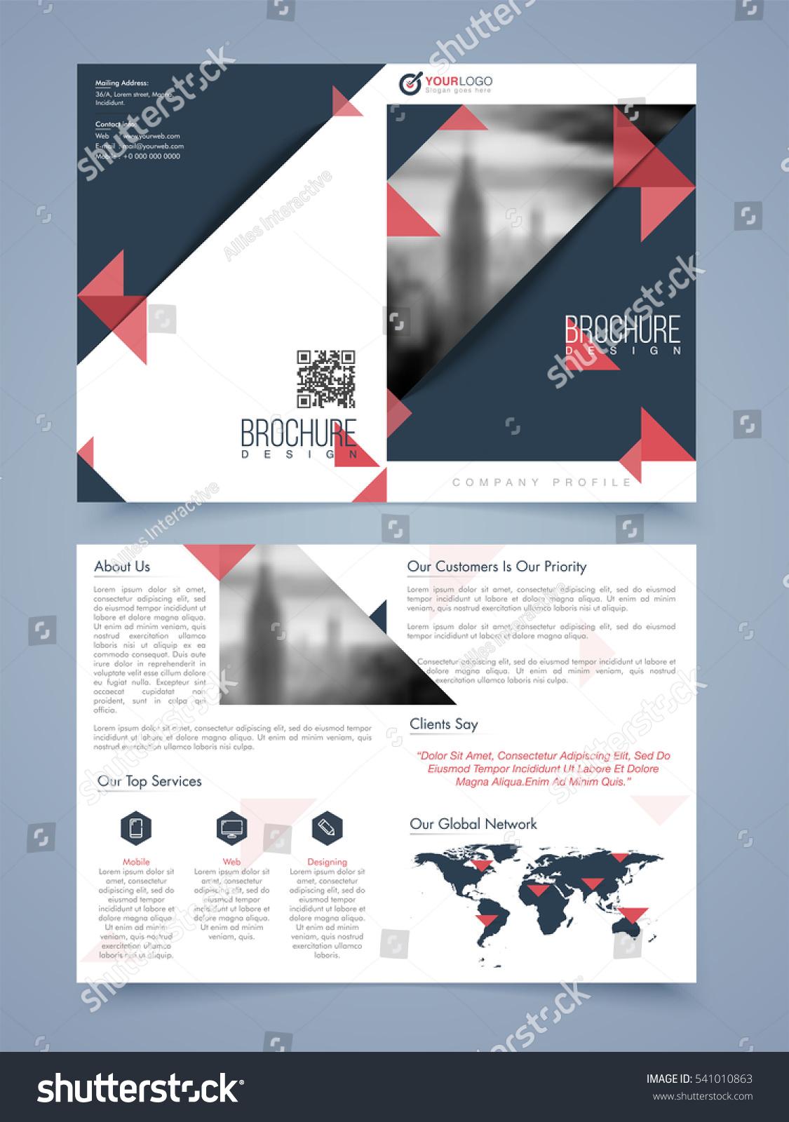 Two page brochure template flyer layout stock vector for Two page brochure template