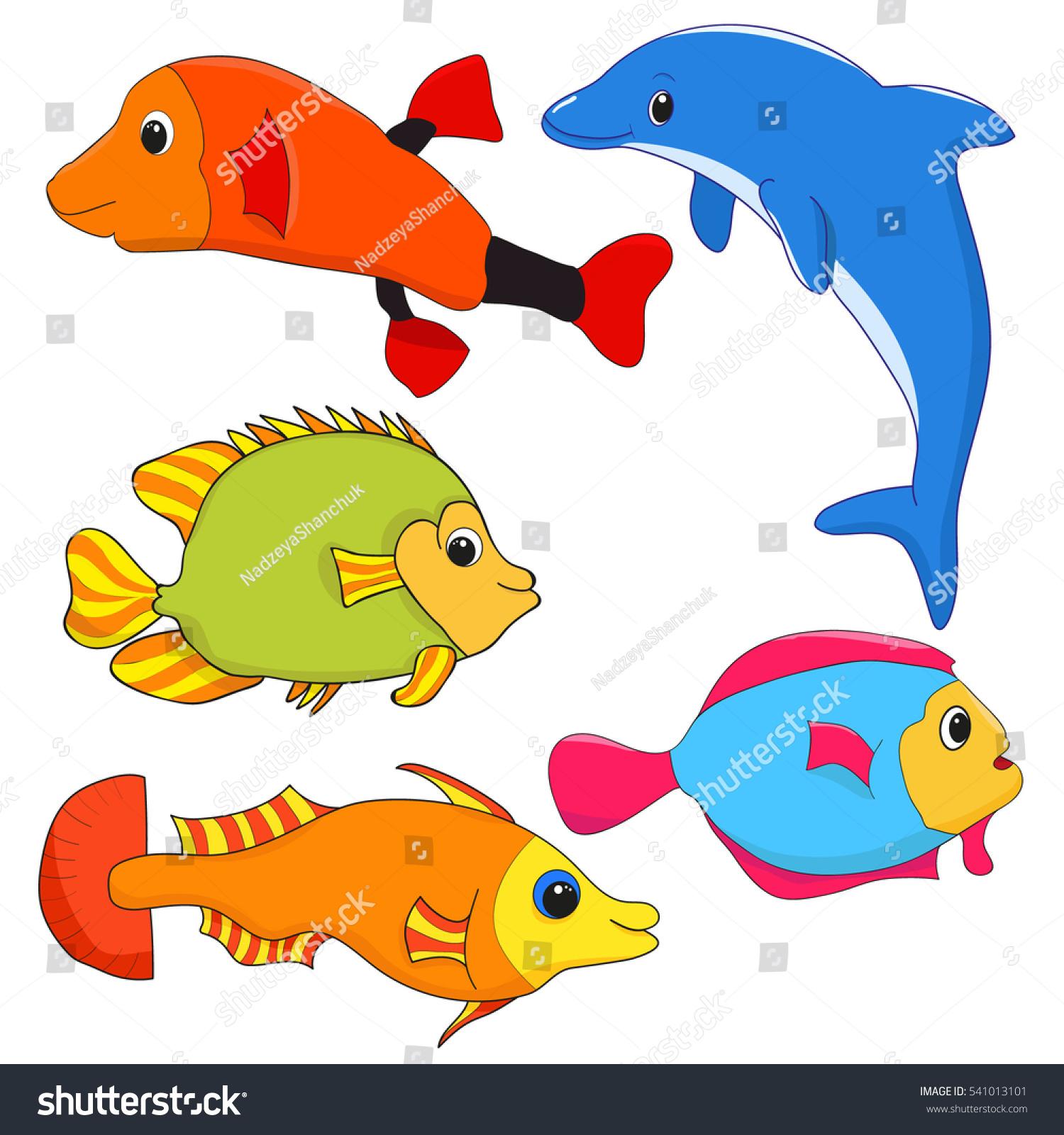 Fish Character Set Cartoon Stock Vector 541013101