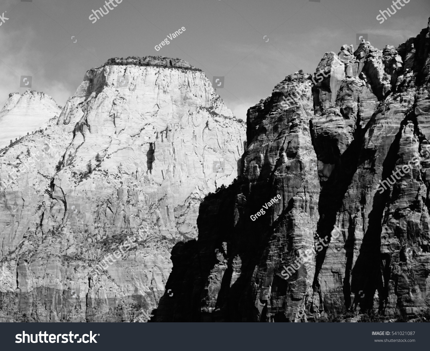 Mountains at zion national park utah in black and white
