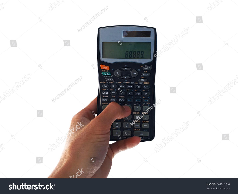 Using Hand Hold Press Scientific Calculator Stock Photo (Edit Now