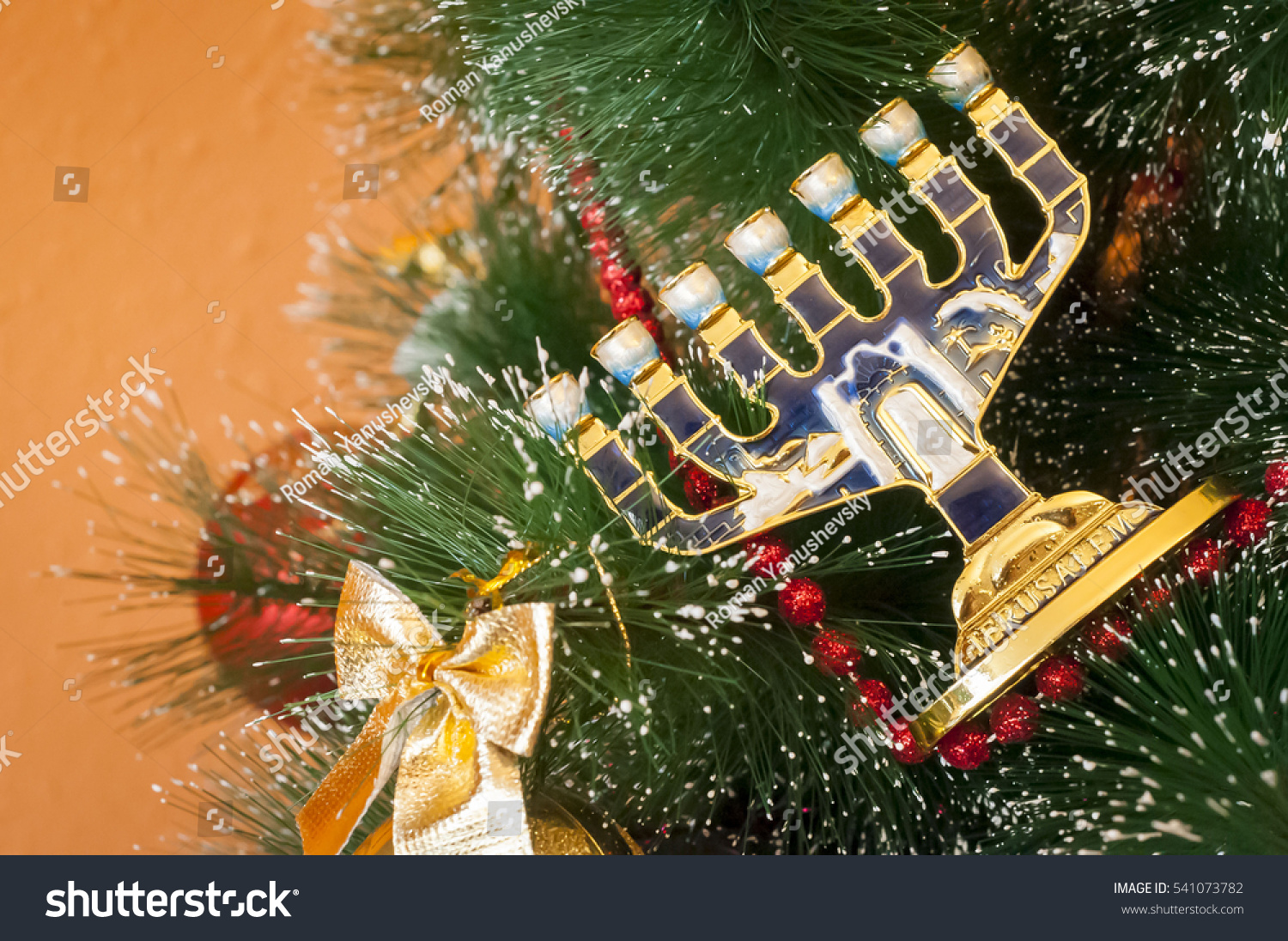 Jewish Menorah On Decorated Christmas New Stock Photo (Edit Now ...