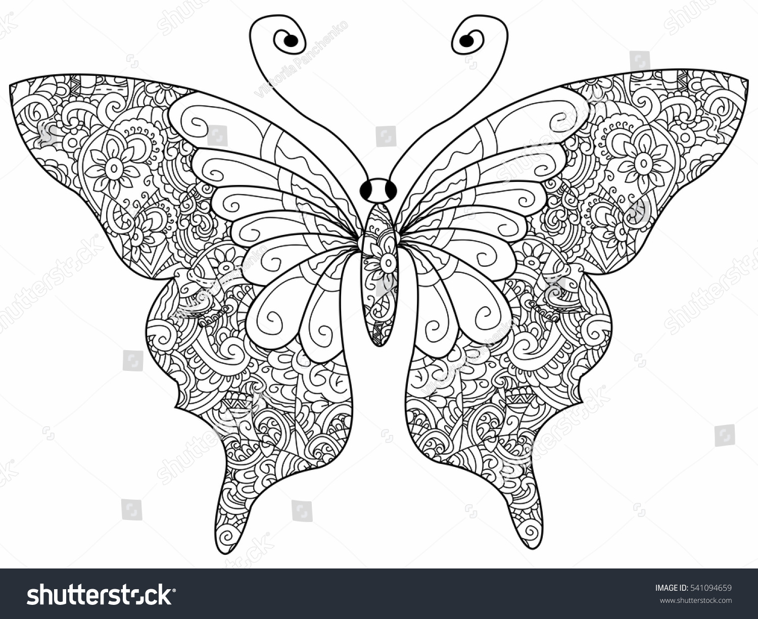 Butterfly Coloring Book Adults Vector Illustration Stock Vector ...