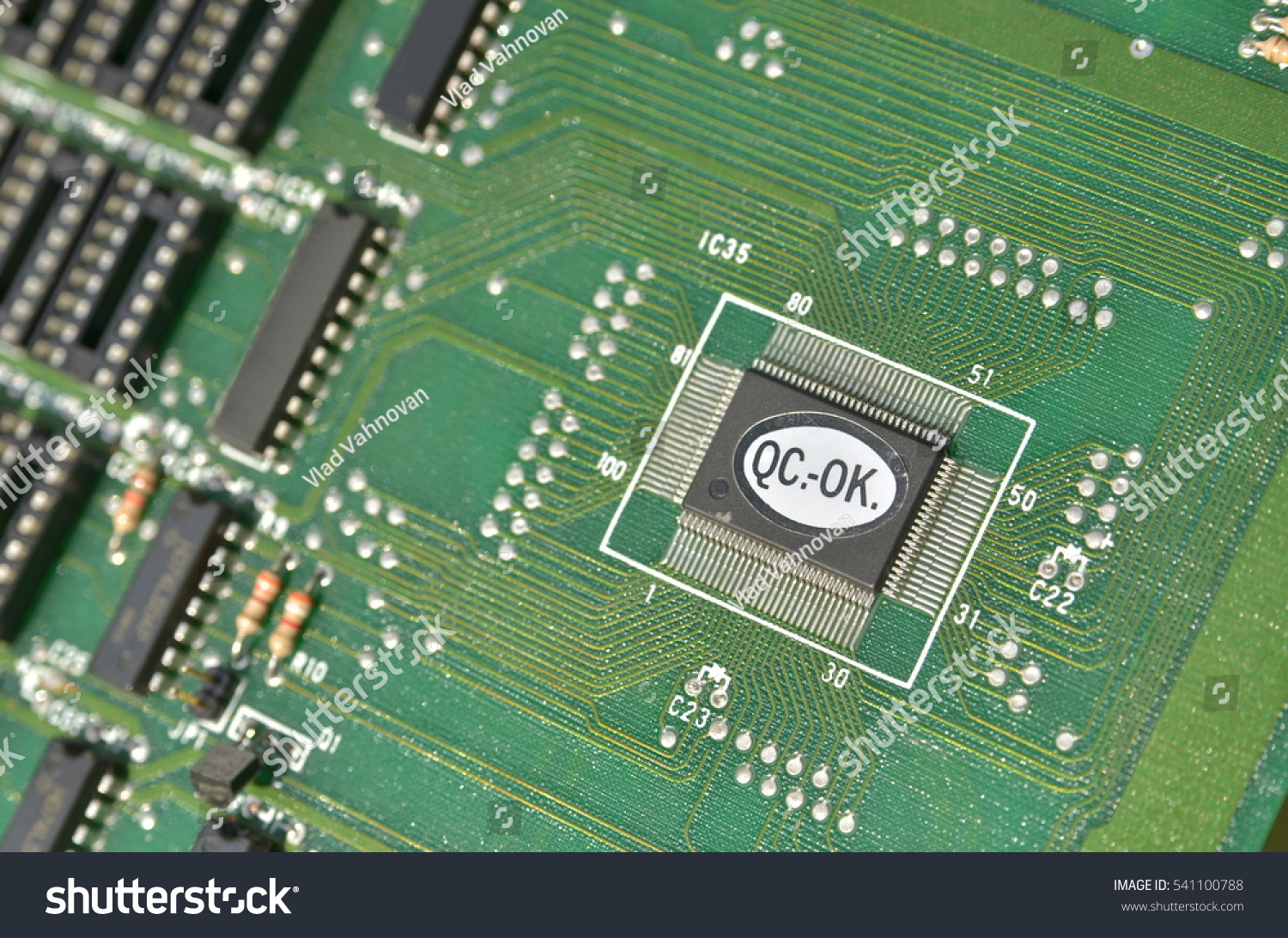 Close Up Of Circuit Board With Electronic Components Ez Canvas Miniature Printed Card