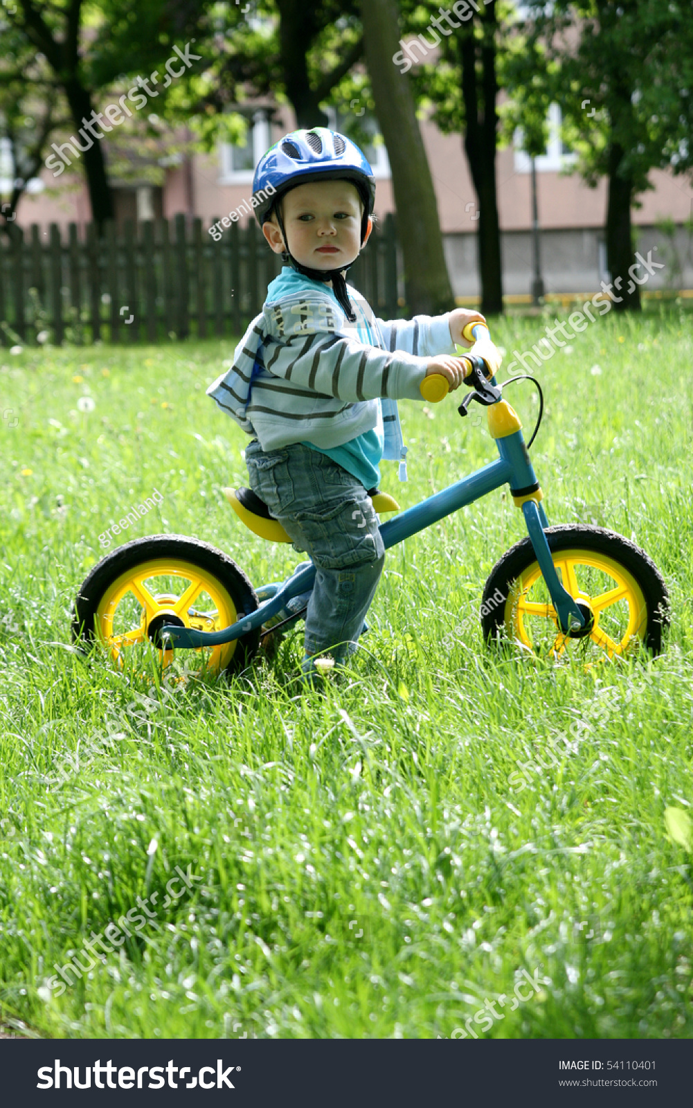 19 Months Old Baby Boy Riding On His First Bike In A