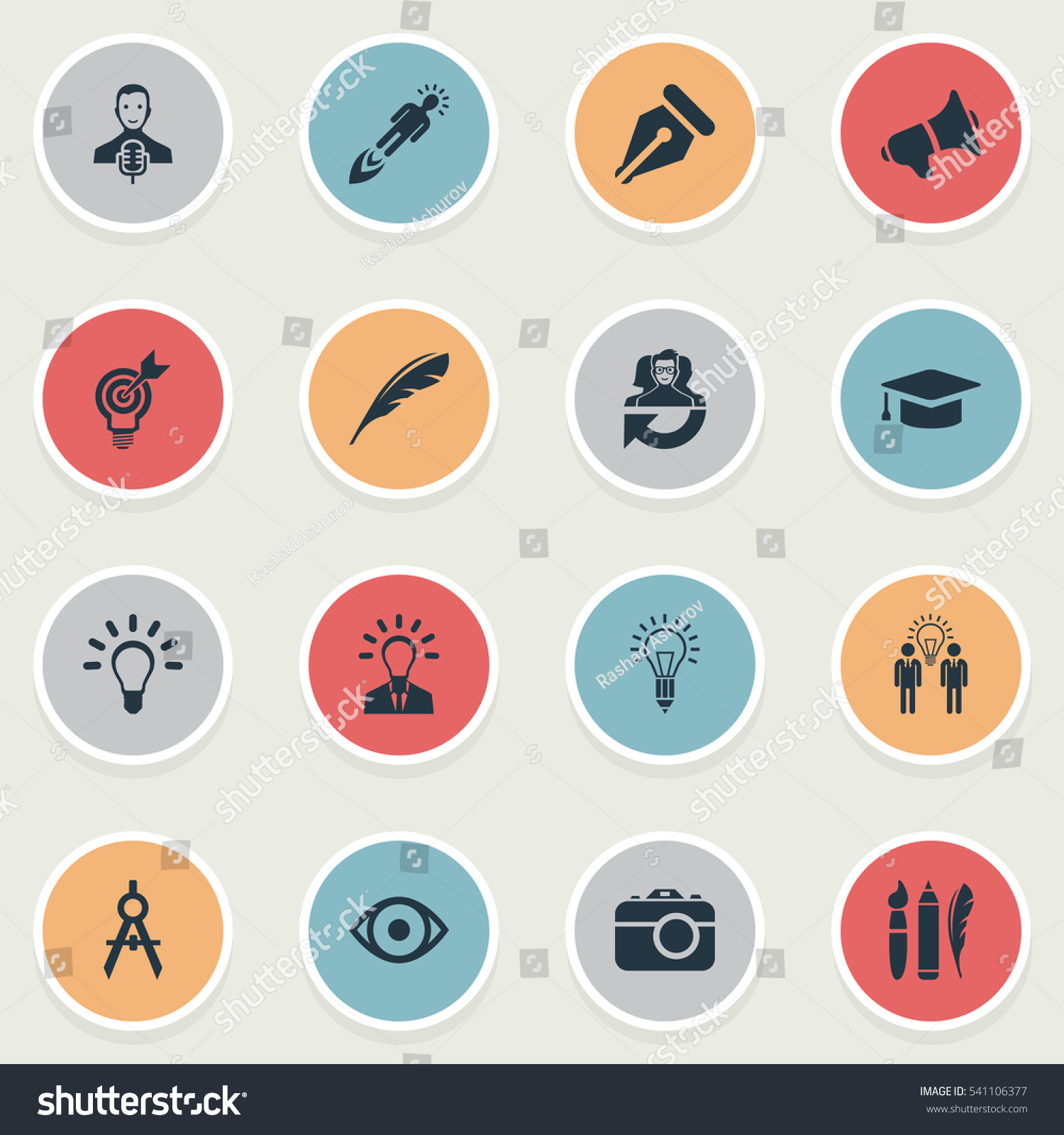 Easy Visual Arts: Set Of 16 Simple Visual Art Icons. Can Be Found Such
