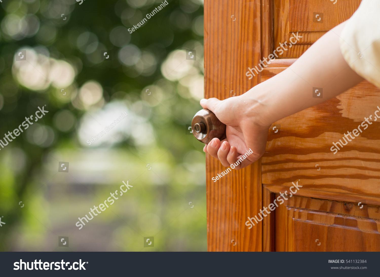 Women Hand Open Door Knob Opening Stock Photo 541132384