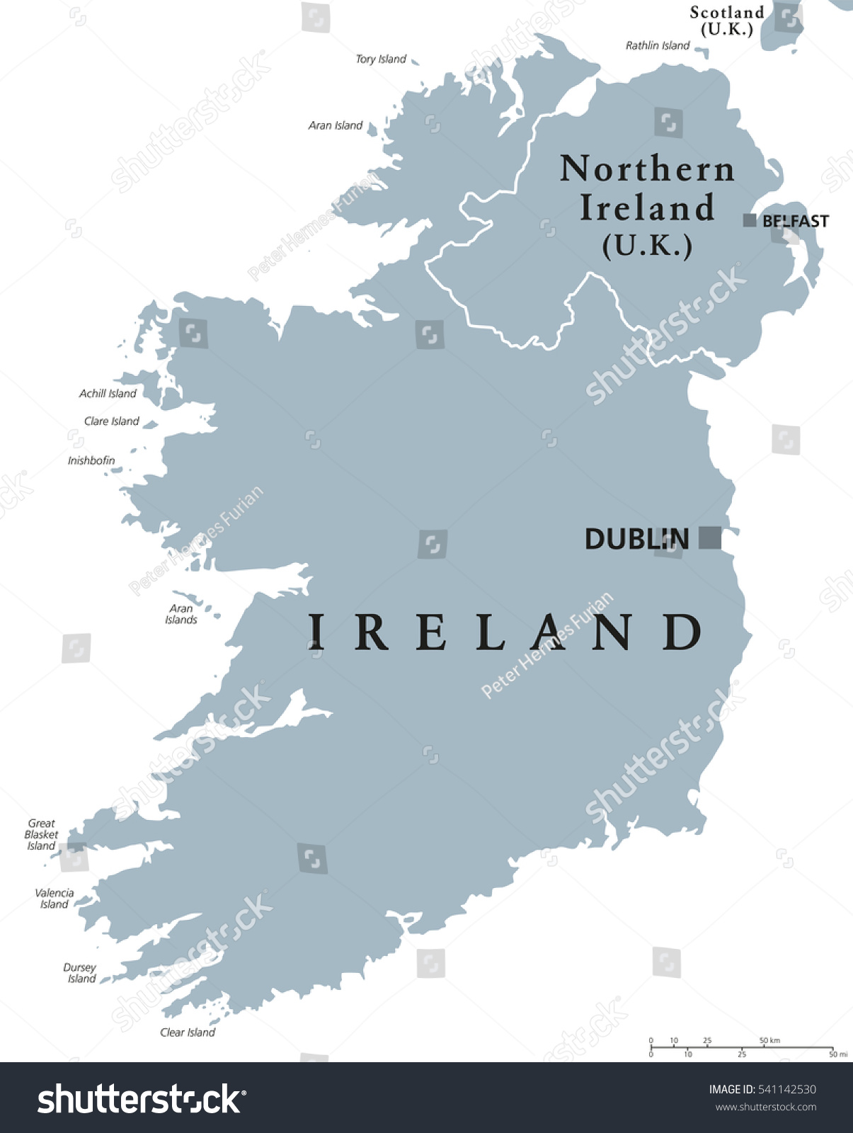 Islands Of Ireland Map.Republic Ireland Northern Ireland Political Map Stock Vector